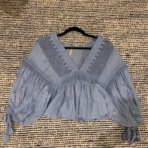 Free People baby blue blouse. GREAT CONDITION.